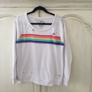 Chaser | Rainbow Distressed Sweatshirt Medium